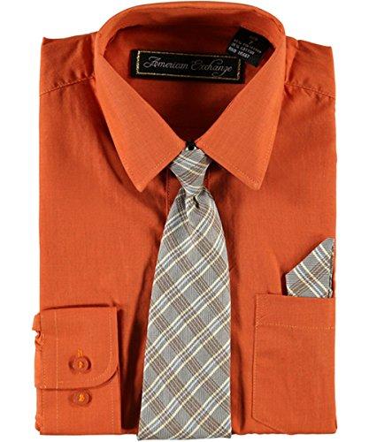 American Exchange Big Boys' Dress Shirt Set - dark orange, 18