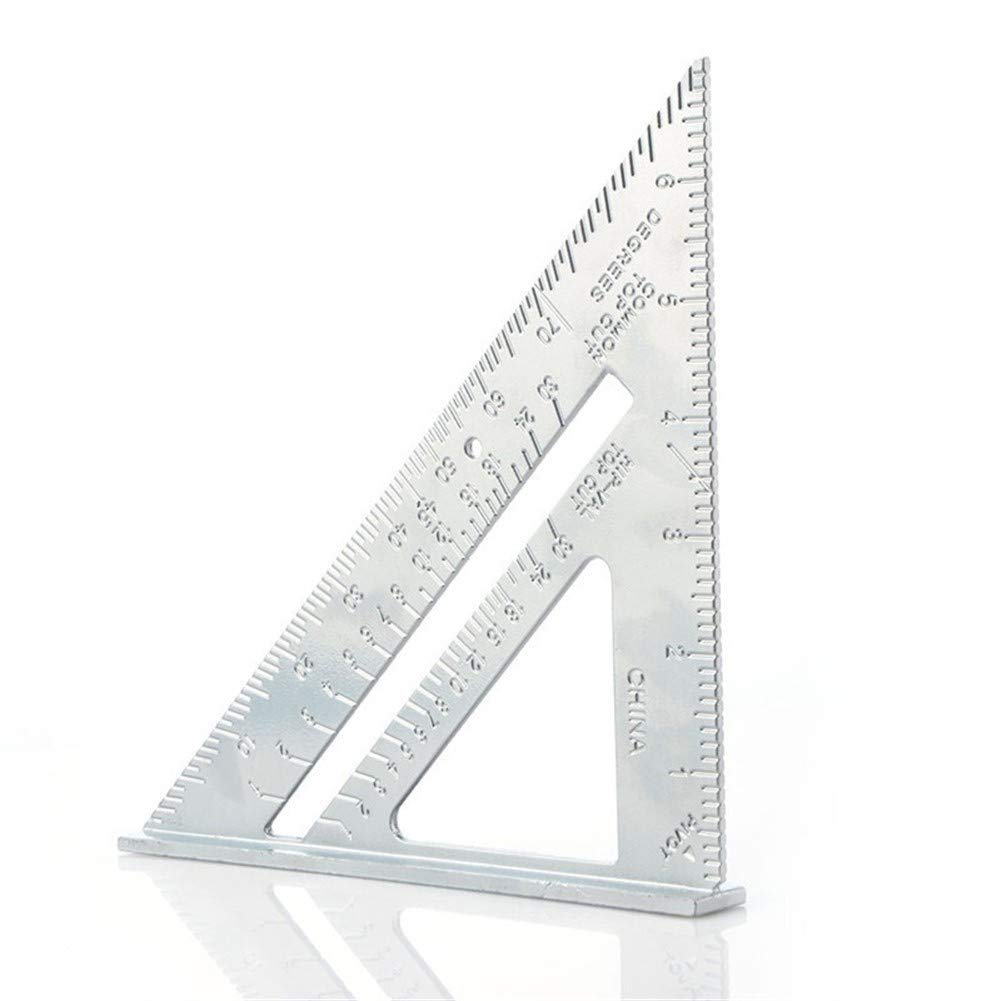 LEZDPP Professional Protractor 7 Inch Aluminum Alloy Woodworking Triangle Ruler Metric Inch 90 Degree 45 Degree Square by LEZDPP