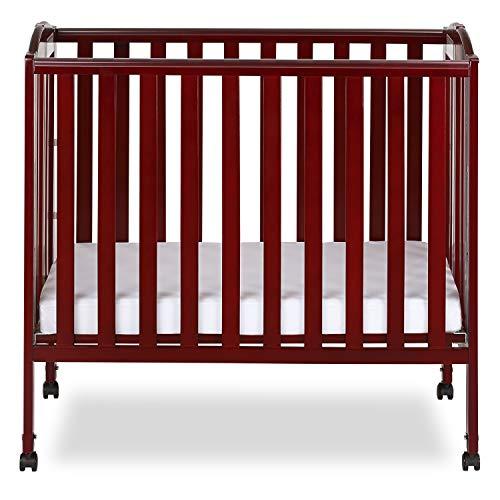 Wood Folding Crib - Dream On Me 3 in 1 Portable Folding Stationary Side Crib, Cherry