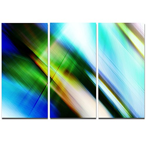 Rays of Speed Blue Green - 3 Piece Graphic Art on Wrapped Canvas Set PT8136-3P