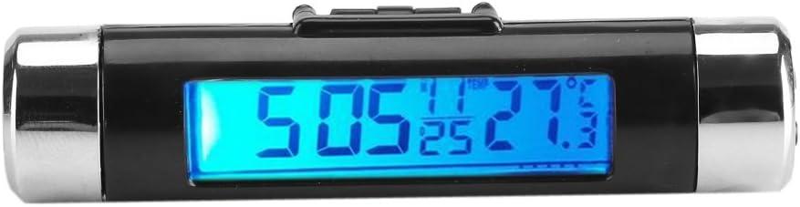 Smandy Pantalla LCD Digital Clip-on Reloj Termómetro Termómetro Medidor de Temperatura Automotriz Mini Reloj Monitor con Retroiluminación para Camión Coche(Luz de Fondo Azul)