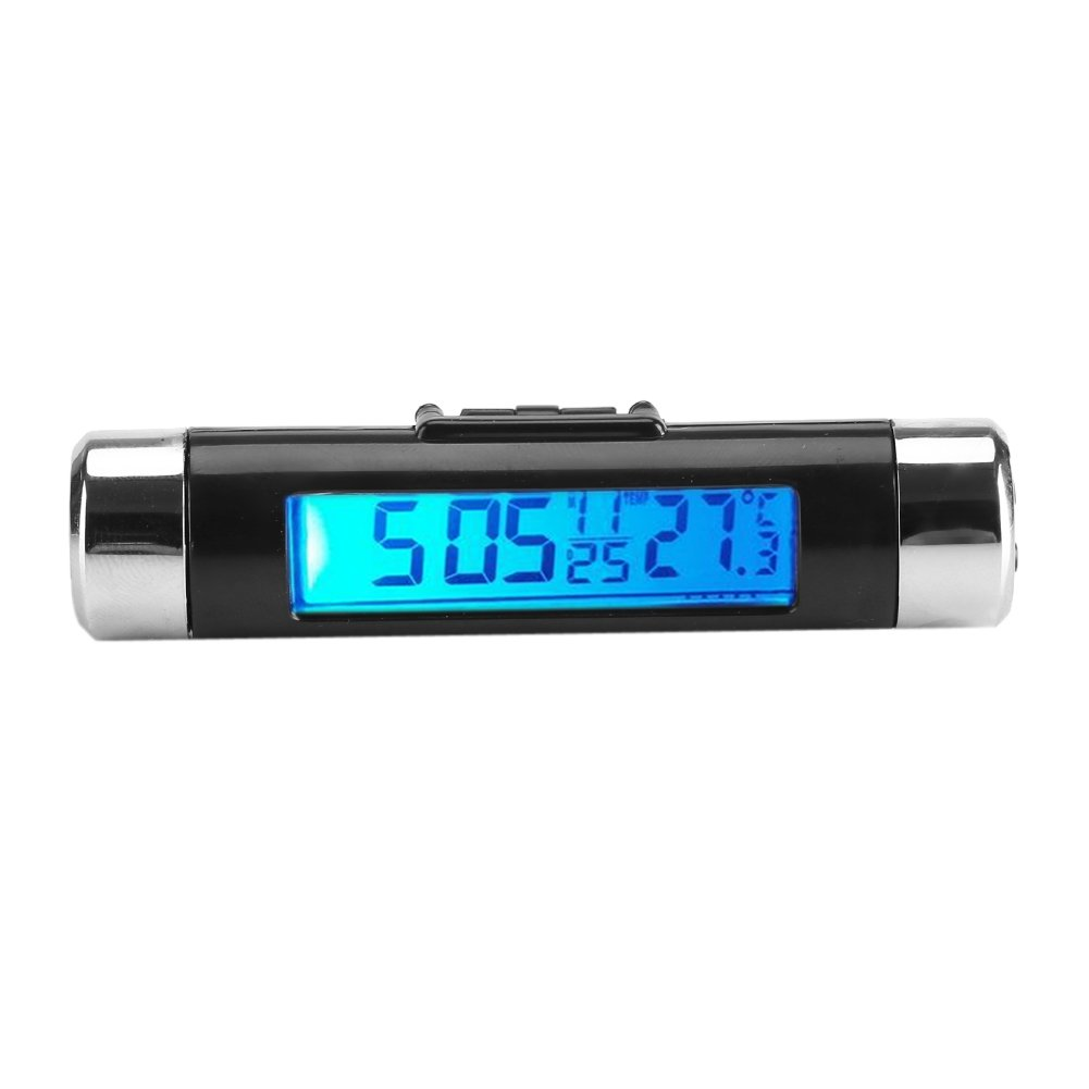 Car Clock Thermometer 2 in 1 Digital LCD Backlight Thermometer Clip-on Automotive Time Clock Monitor(Blue Light) Yosoo