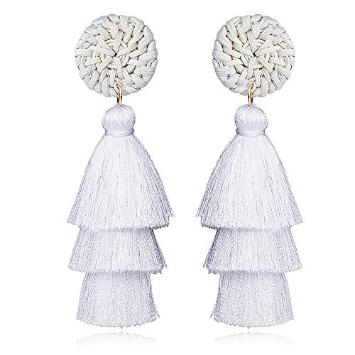 Titanium White Earrings - Tassel Earrings for Women Statement 3 Layered Fringe Thread Dangle Earrings Bohemian Tassel Drop Earrings