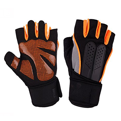- Gym Gloves Breathable Ultralight Padded Weight Lifting Exercise Gloves, Half Finger Microfiber Material and Silica Gel Padded Grip Anti-slip Multi-Colored Lines (Orange, M(Fits 7-7.5 Inches))