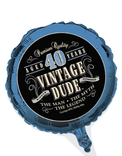 Creative Converting Vintage Dude 40th Birthday 2-Sided Round
