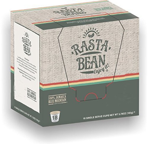 Rasta Single (Rasta Bean Direct Trade 100% Board Certified Genuine Jamaica Blue Mountain® Coffee K-Cups for Keurig Brewers (18-count))