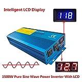 IpoweBingo Car Boat 1500W / 3000W (Peak) Pure Sine Wave Power Inverter Soft Start 12V DC to 110V AC Inverter with LCD DISPLAY
