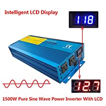 IpoweBingo Car Boat 1500W / 3000W (Peak) Pure Sine Wave Power Inverter Soft Start 12V DC to 110V AC Inverter with LCD DISPLAY