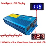 Cantonape Car Boat RV 1500W/3000W(Peak) Pure Sine Wave Power Inverter DC 12V to 110V AC with LCD Display