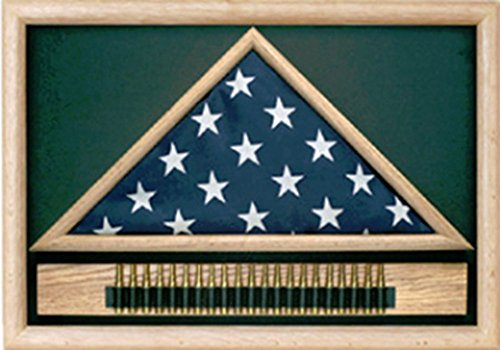 - Military 21 Gun Salute Flag Display Case solid Oak or Walnut case has a triangular flag case centered in the frame.