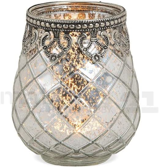 10 cm 3 Gr/ö/ßen zur Auswahl matches21 Windlicht Teelichtglas Kerzenglas Orientalisch Silber antik Glas//Metall Vintage