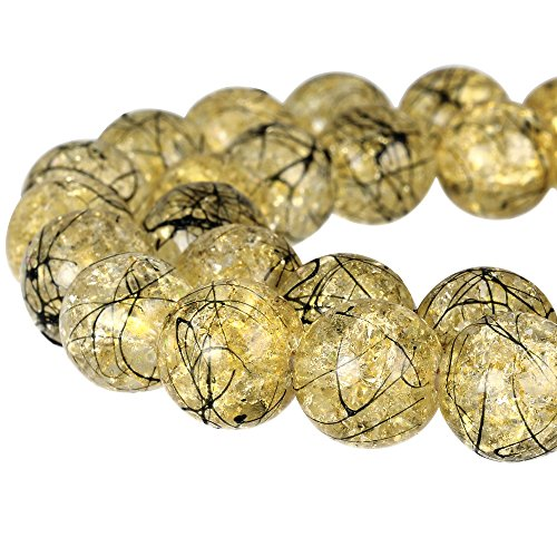 RUBYCA Round Crackle Druk Czech Crystal Pressed Glass Beads for Jewelry Making 10mm Strand (Gold)