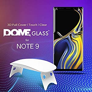 Dome Glass Galaxy Note 9 Screen Protector Tempered Glass, Full 3D Curved Edge Screen Shield [Liquid Dispersion Tech] Easy Install Kit by Whitestone for Samsung Galaxy Note 9 (2018) - 2 Pack from Dome Glass