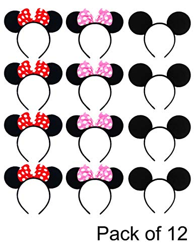 (Mickey Minnie Mouse Ears Adult Headband EURICA Mouse Costume Girl Boy for Birthday Party Theme Park Costume Play)