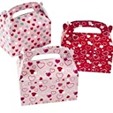 Fun Express Valentine Treat Boxes - Set of 24 Heart Paper Mini Treat Boxes: more info