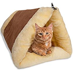 OxGord 2-in-1 Cat Pet Bed Tunnel Fleece Tube Indoor Cushion Mat Pyramid Pad For Dog Puppy Kitten Kitty Kennel Crate Cage Shack House