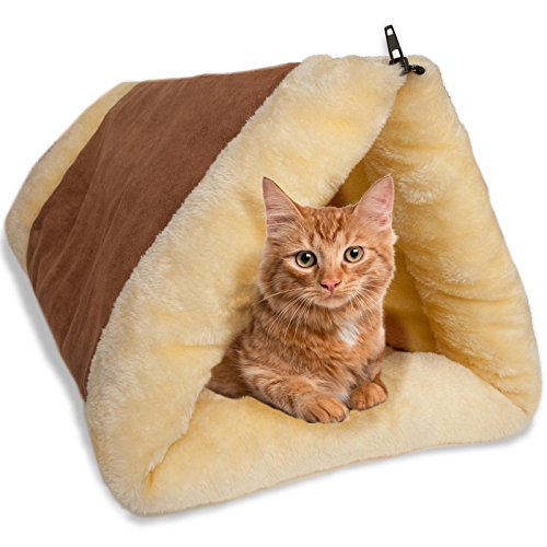 Cat Bed Cave House Bed – Beds Best for Indoor Cats Houses Heated Kitten Warm Pet Self Warming w/Hoods Caves Igloo Covered Pod Felted Faux Felt Wool Cocoon – 2-in-1 Fleece Tunnel Tube & Kitty Mat Pad
