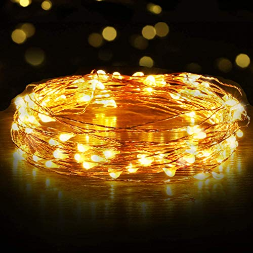 Quace Copper String Led Light 10M 100 LED USB Operated Wire Decorative Fairy Lights Diwali Christmas Festival – Warm…