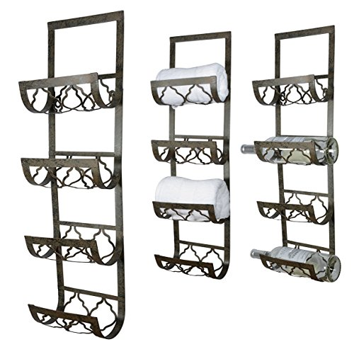 4 Bottle Wall Mounted Metal Wine Rack, Towel Rack by Ten Waterloo
