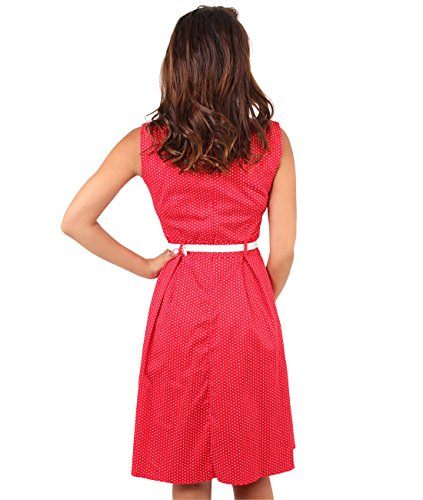 Vestido Vintage años 50 Pin Up con Estampado de Lunares y Cinturón Rojo