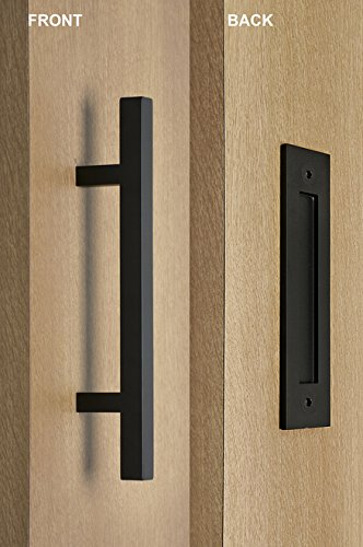 Contemporary Flush Pull - STRONGAR Modern and Contemporary Square Pull and Flush Door Handle Set/Commercial/Residential Grade Stainless Steel/Black Powder Finish