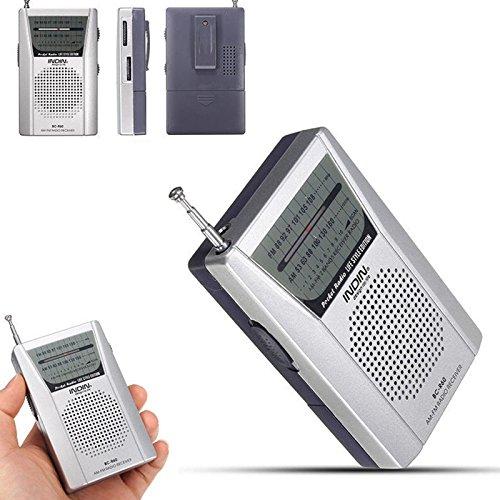 VizGiz Classic Retro Mini Radio Ultra Slim Portable Pocket Radio AM FM Receiver Sensitive Telescopic Antenna Built-in Loud Speaker Standard 3.5mm Earphones Jack Battery Operated (w/Retail ()
