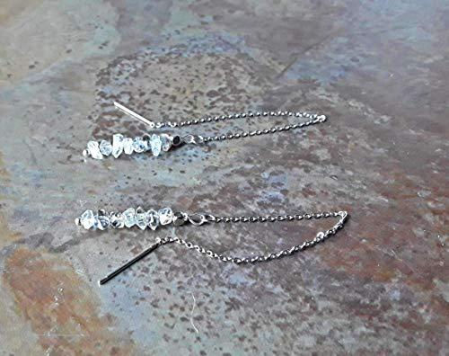 Herkimer Diamond Stainless Steel Ear Threads Threader Earrings (Threads Diamond)