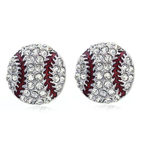 SoulBreeze I Heart Love Baseball Sport Dangle Stud Post Earrings Necklace Pendant Set ()
