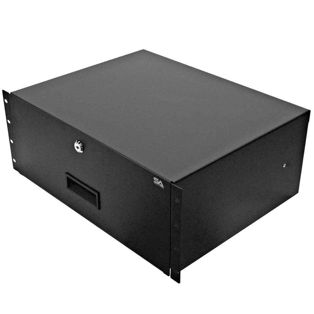 Seismic Audio - SA-RD4-4 Space PA/DJ Metal 19'' Rack Case Locking Drawer - 4U Server Cabinet Drawer with Keys