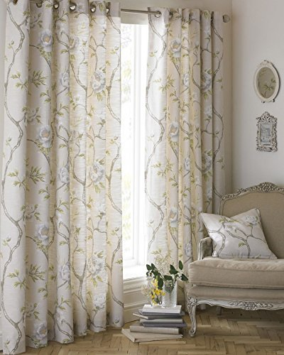 Fiori Floreale su Vines Bianco Beige Foderate 66 x 54   - 168cm x 137cm Anello Superiore Curtains