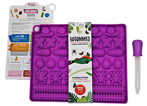 DIY Assorted BUGUMMIES Mold by Mister Gummy | Premium Quality Silicone | Make your own DIY gummy bugs and other treats! | Bug Mold + Dropper + Recipe Card + Reusable Zip Lock Bag (SINGLE PACK)