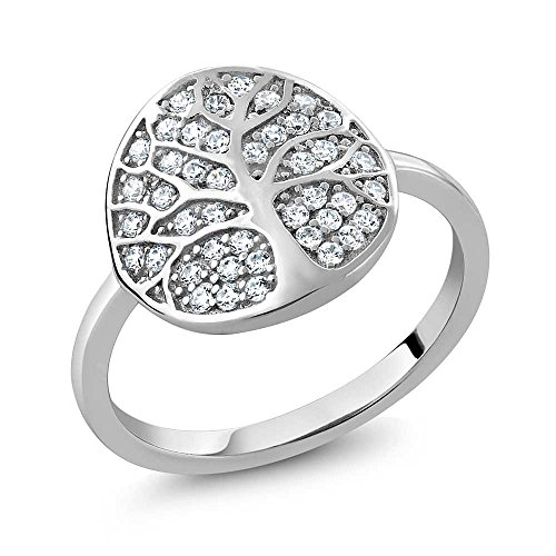 925 Sterling Silver Gorgeous White Tree Of Life Ring Made With Swarovski Zirconia (Size ()