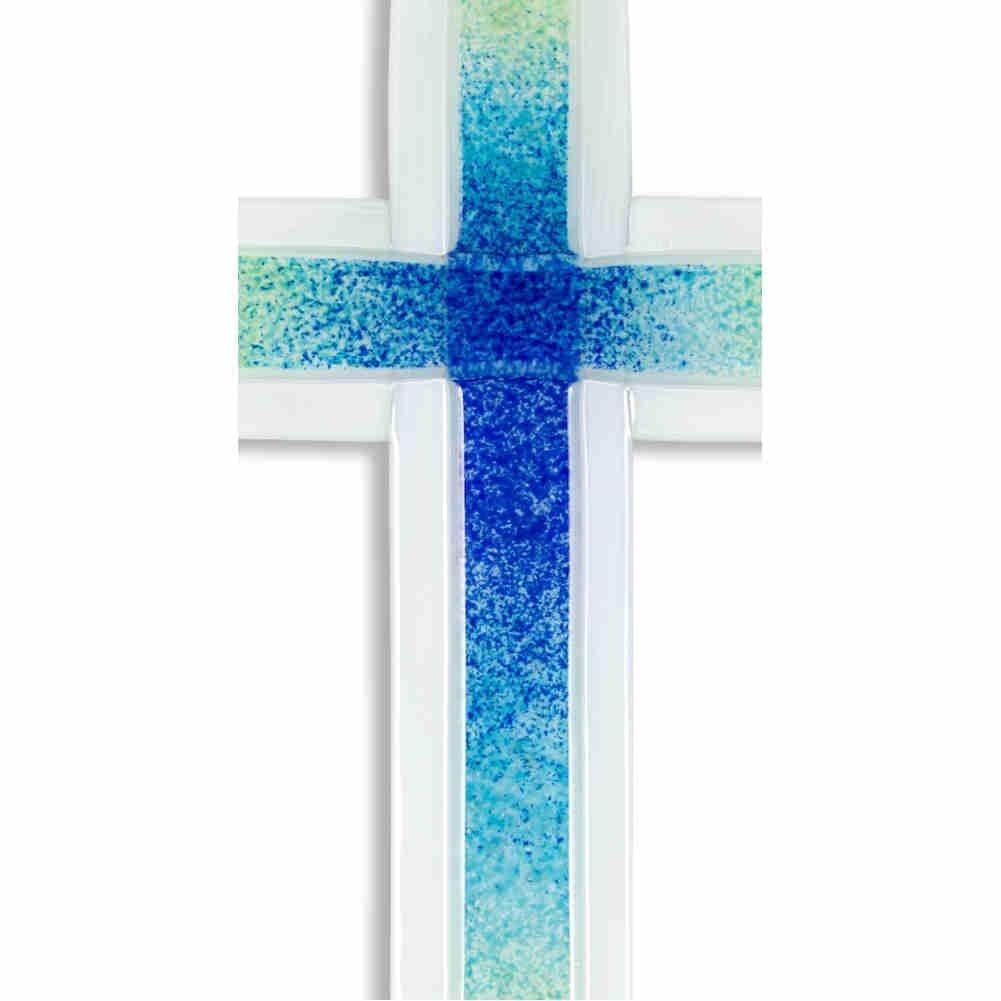 t/ürkis kruzifix24 Devotionalien Glaskreuz Kreuz in Kreuz wei/ß gr/ün modern Glas Wandkreuz Schmuckkreuz Wandschmuck Unikat Handarbeit 20 x11 cm blau