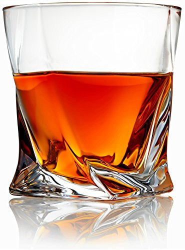 Venero Crystal Whiskey Glasses - Set of 4 - Tumblers for Drinking Scotch, Bourbon, Cognac, Irish Whisky - Large 10 oz Premium Lead-Free Crystal Glass Tasting Cups - Luxury Gift Box for Men or Women
