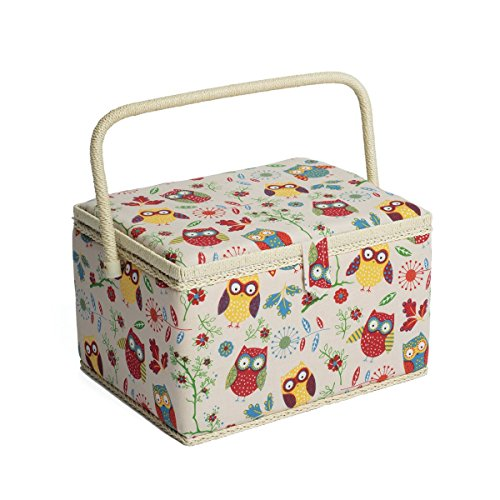 Hobby Gift Owl Design Sewing Box on Natural Large (23.5 x 31 x 20cm)