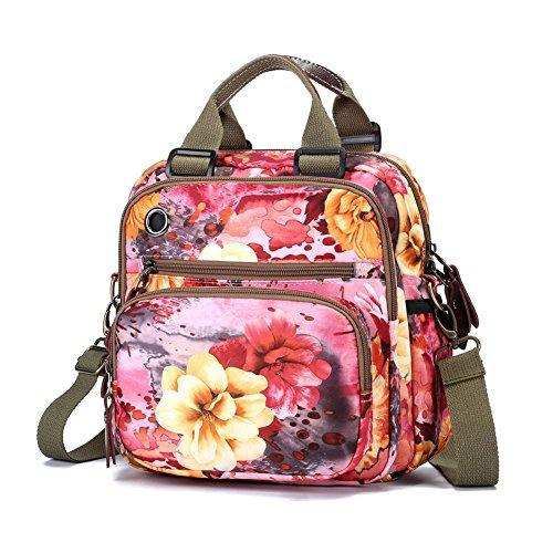 Womens Fashion Crossbody Shoulder Bag Flower Printing Purse Handbags Multi Purpose Shoulder Backpack