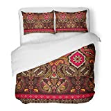SanChic Duvet Cover Set Red Abstract Indian with Paisley Ethnic Style Arabian Cartoon Cute Decorative Bedding Set with Pillow Sham Twin Size