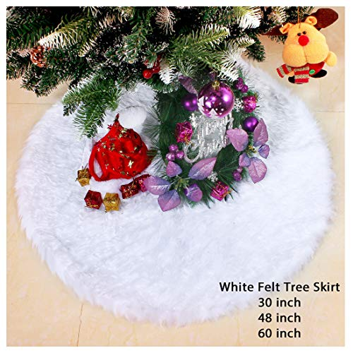 (iMucci 30inch Chirstmas Tree Skirt Snowy White Plush Velvet - Holiday Party Decoration)