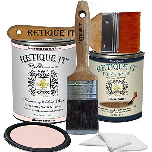 Retique It Chalk Furniture Paint by Renaissance DIY, Poly Kit, 51 Cherry Blossom, 32 Ounces