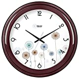 Komo Stylish Bold Classic Quartz Large Wall Clock Non Ticking Silent Wall Clock living room round creative simple muted electronic quartz clock,10 inch,wine red