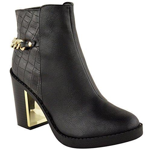 Mujeres Oro Tacón Medio Botines Chelsea Bloque Grueso Zapatos De Plataforma - Negro Cocodrilo Piel Sintética, 36: Amazon.es: Zapatos y complementos