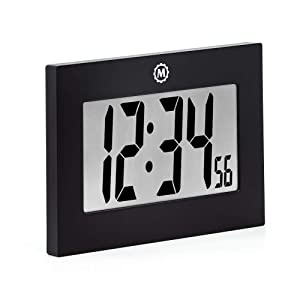 Marathon Large Digital Wall Clock with FoldOut Table Stand. Size is 9 inches with Big 3.25 Inch Digits. Batteries Included. Frame Color – Black. SKU CL030064BK