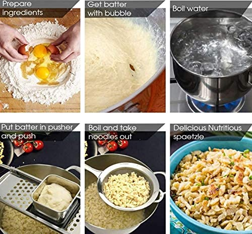 Yongfer Kitchen Spaetzle Noodle Maker - Kitchen Stainless Steel Blade Spaetzle Noodle Dumpling Maker Pasta Cooking Tool