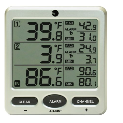 Ambient Weather WS-091-C Wireless Indoor/Outdoor 8-Channel Thermometer with Daily Min/Max Display, Console Only