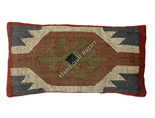 Handicraft Bazar Set of 2 Wool Jute Cushion Cover Handwoven Decor Floor Cushion Jute Rug Cushion Cover Outdoor Cushions, Sofa Throw Pillow Cases, Decorative Boho Jute Pillow Shams Floor Pillow Sham ()