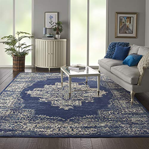Nourison GRF14 Grafix Traditional Distressed Navy/Blue Area Rug 8'6
