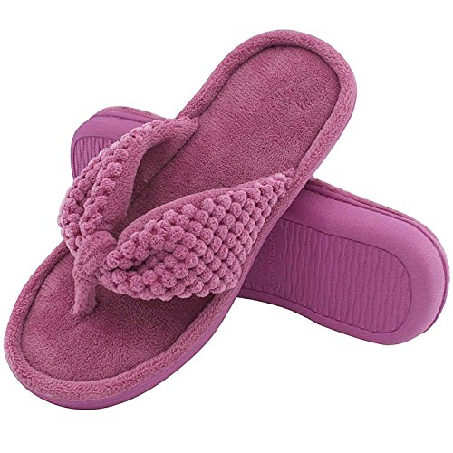 Women's Cozy Memory Foam Plush Gridding Velvet Lining Spa Thong Flip Flops Clog Style House Indoor Slippers (Medium / 7-8 B(M) US, Purple)