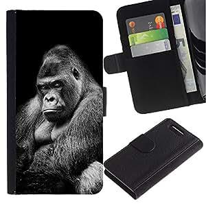 A-type (Great Big Ape Gorilla Black White Meaning) Colorida Impresión Funda Cuero Monedero Caja Bolsa Cubierta Caja Piel Card Slots Para Sony Sony Xperia Z1 Compact / Z1 Mini (Not Z1)