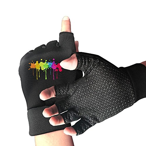 HZZK OUTDOOR Rainbow Paint Splatter Men And Women Exercise Cycling Shockproof Half Finger Non-slip Gloves Outdoor Sports Fitness Bike Gloves