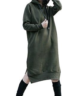 a392028b1a NUTEXROL Women s Thickening Long Fleece Sweatshirt String Hoodie Dress  Pullover Plus Size